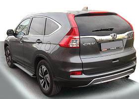Honda CRV 2017↗ рр. Бічні пороги Allmond Grey (2 шт., алюм.)