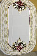 Новогодняя скатерть белого цвета с новогодней композицией размер 120*160 н, фото 1