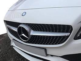 Передня решітка Diamond Silver 2018-2021, з камерою Mercedes C-сlass W205 2014-2021 рр.