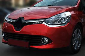 Накладки на решетку радатора OmsaLine (2 шт, нерж.) Хром Renault Clio IV 2012-2019 гг.