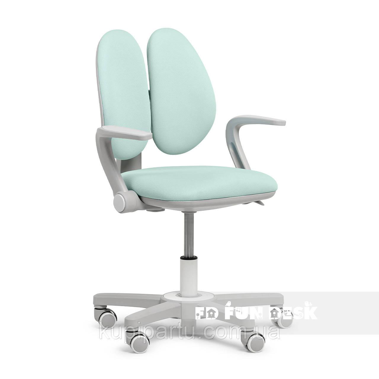Детское эргономичное вращающееся кресло Fundesk Mente Dark Green с подлокотниками