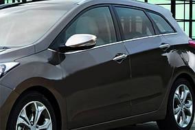 Hyundai I-30 2012-2017 рр. Накладки на дзеркала з вирізом під поворот (2 шт., нерж) OmsaLine - Італійська