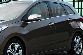 Hyundai I-30 2012-2017 рр. Накладки на дзеркала з вирізом під поворот (2 шт., нерж) Carmos - Турецька сталь