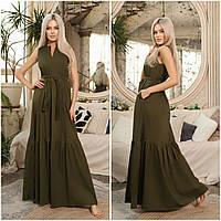 Жіноче плаття максі з поясом хакі НА/-40390