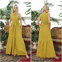 Жіноче плаття максі з поясом лайм НА/-40390