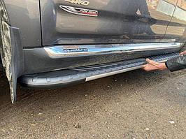 Боковые пороги Bosphorus Grey (2 шт., алюминий) Mitsubishi Pajero Wagon III