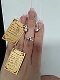 Серебряный комплект с золотыми вставка серьги и кольцо, фото 3
