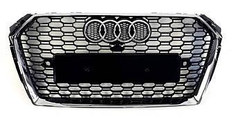 Решетка радиатора Audi A4 B9 (15-19) тюнинг стиль RS4 (хром рамка)