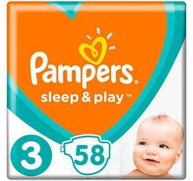 Підгузники Pampers Sleep&Play Midi 3 ( 58 шт / 6-10 кг) памперс сліп енд плей