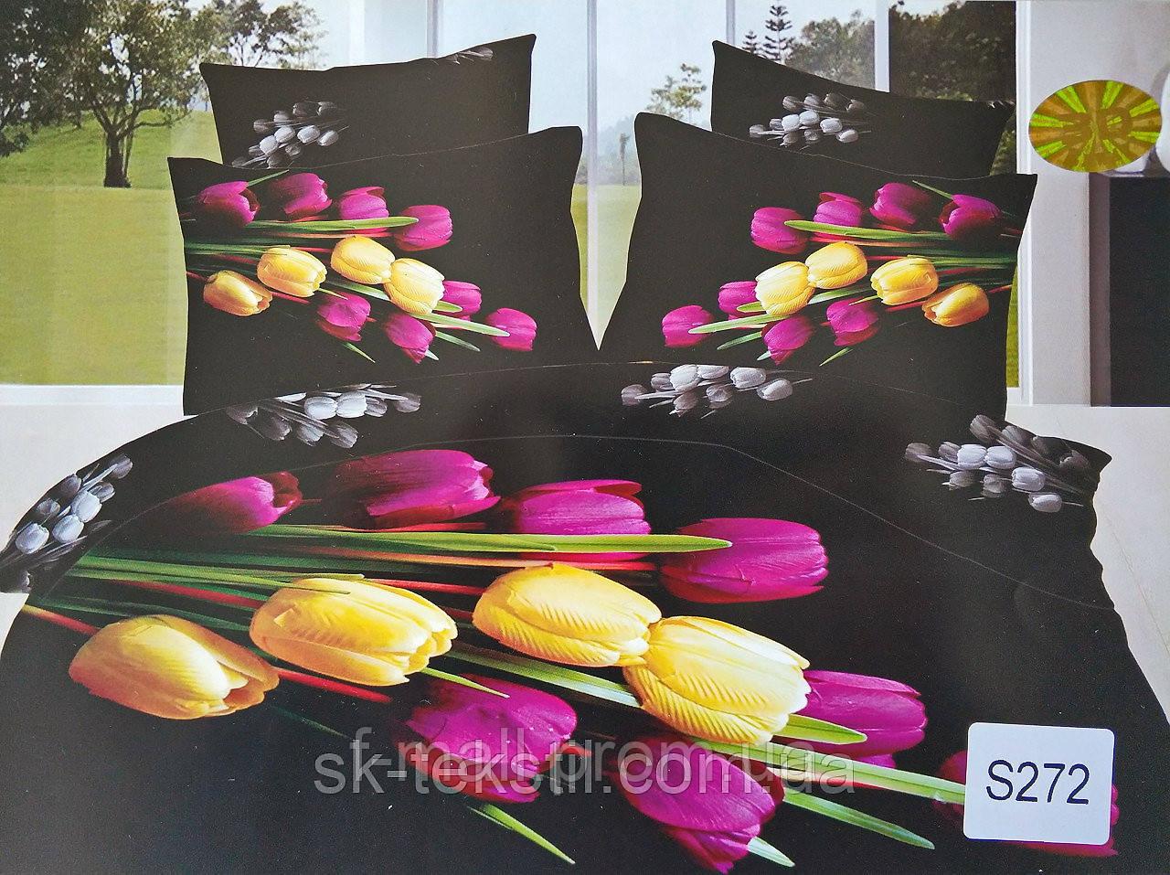 Комплект постельного белья ELWAY (Польша) 3D LUX Сатин Евро Подарочная упаковка (272)