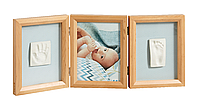 Тройная рамочка для двух гипсовых отпечатков (ножки и ручки) от Baby Art,натуральная., фото 1