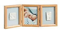 Тройная рамочка для двух гипсовых отпечатков (ножки и ручки) от Baby Art,натуральная.