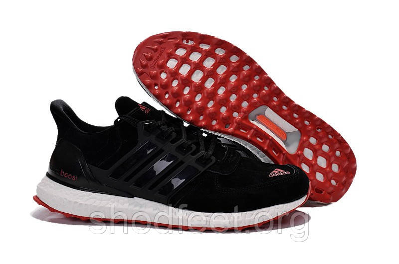 Кроссовки Adidas Ultra Boost Suede Low Black/Red/White