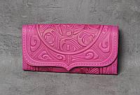 """Кожаный розовый кошелек ручной работы с тисненым орнаментом """"Триполье"""""""