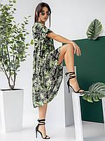 Яркое летнее платье-миди свободного фасона, материал штапель с тропическим принтом размеры 42-44, 44-46