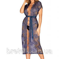 Халат женский длинный кружевной синий полупрозрачный  Obsessive Flowlace L/XL
