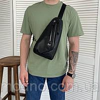 Чоловіча шкіряна нагрудна сумка слінг через плече H. T. Leather, фото 2