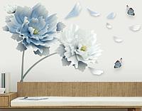 """Интерьерные наклейки на стену, на шкаф, двери, витрины """"2 больших цветка"""" 78см*125см (лист 60*90см)"""