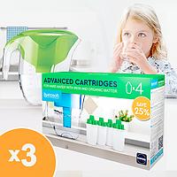 Комплект покращених картриджів 3+1 Ecosoft наша вода для фільтрів-кувшинів (CRVK4), фото 1