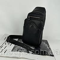Мужская кожаная нагрудная сумка слинг через плечо на два отделения H.T. Leather, фото 4