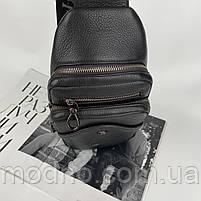 Мужская кожаная нагрудная сумка слинг через плечо на два отделения H.T. Leather, фото 6