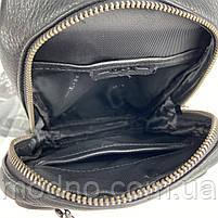 Мужская кожаная нагрудная сумка слинг через плечо на два отделения H.T. Leather, фото 8