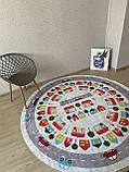 """Безкоштовна доставка! Круглий килим в дитячу """"Дорожні пригоди"""" діаметр 200 см, фото 5"""