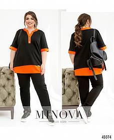 Комфортный спортивный костюм с футболкой свободного кроя черно-оранжевого цвета, больших размеров от 52 до 62