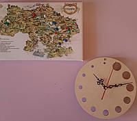 Часы дизайнерские настенные деревянные на 24 часа