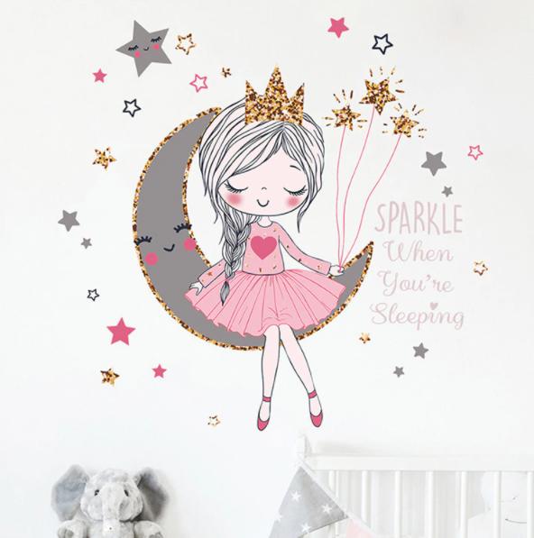 """Виниловые наклейки на стену, шкаф в детскую """"девочка-принцесса на луне со звездами"""" 56см*58см (лист 35*60см)"""