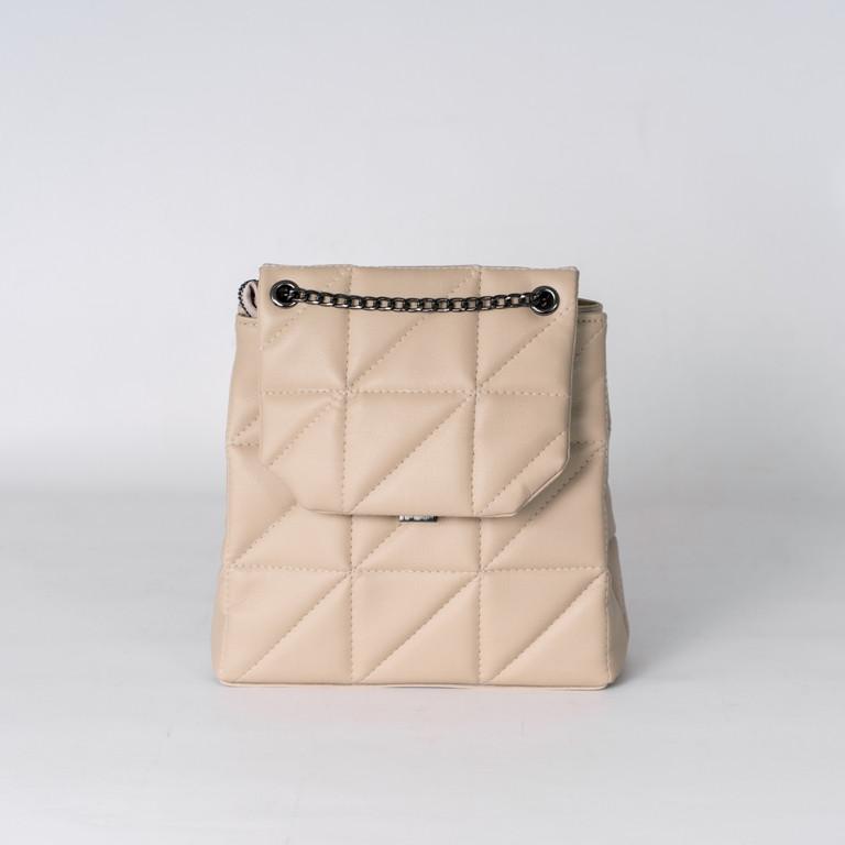 Женская бежевая сумка-рюкзак K27-21/3 трансформер через плечо ручки-цепочки
