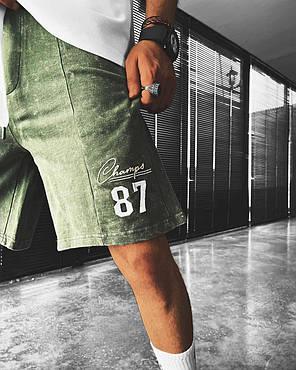 Мужские трикотажные шорты зеленого цвета, фото 2