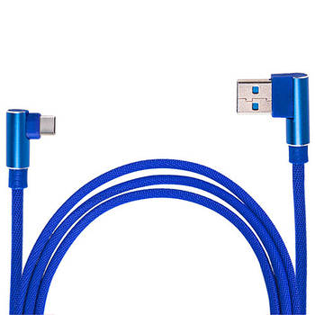 Кабель зарядки USB - Type С (Blue) 90° ((200) Bl 90°)