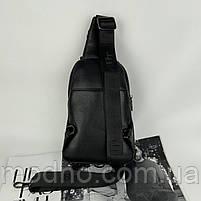 Чоловіча шкіряна містка нагрудна сумка слінг через плече H. T. Leather, фото 5