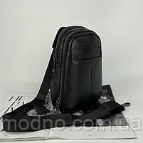 Чоловіча шкіряна містка нагрудна сумка слінг через плече H. T. Leather, фото 3