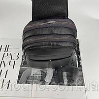 Мужская кожаная нагрудная сумка слинг через плечо на два отделения H.T. Leather, фото 7