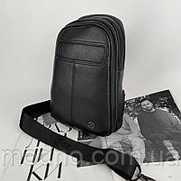 Чоловіча шкіряна містка нагрудна сумка слінг через плече H. T. Leather, фото 4