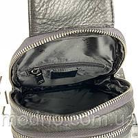 Мужская кожаная нагрудная сумка слинг через плечо на два отделения H.T. Leather, фото 9