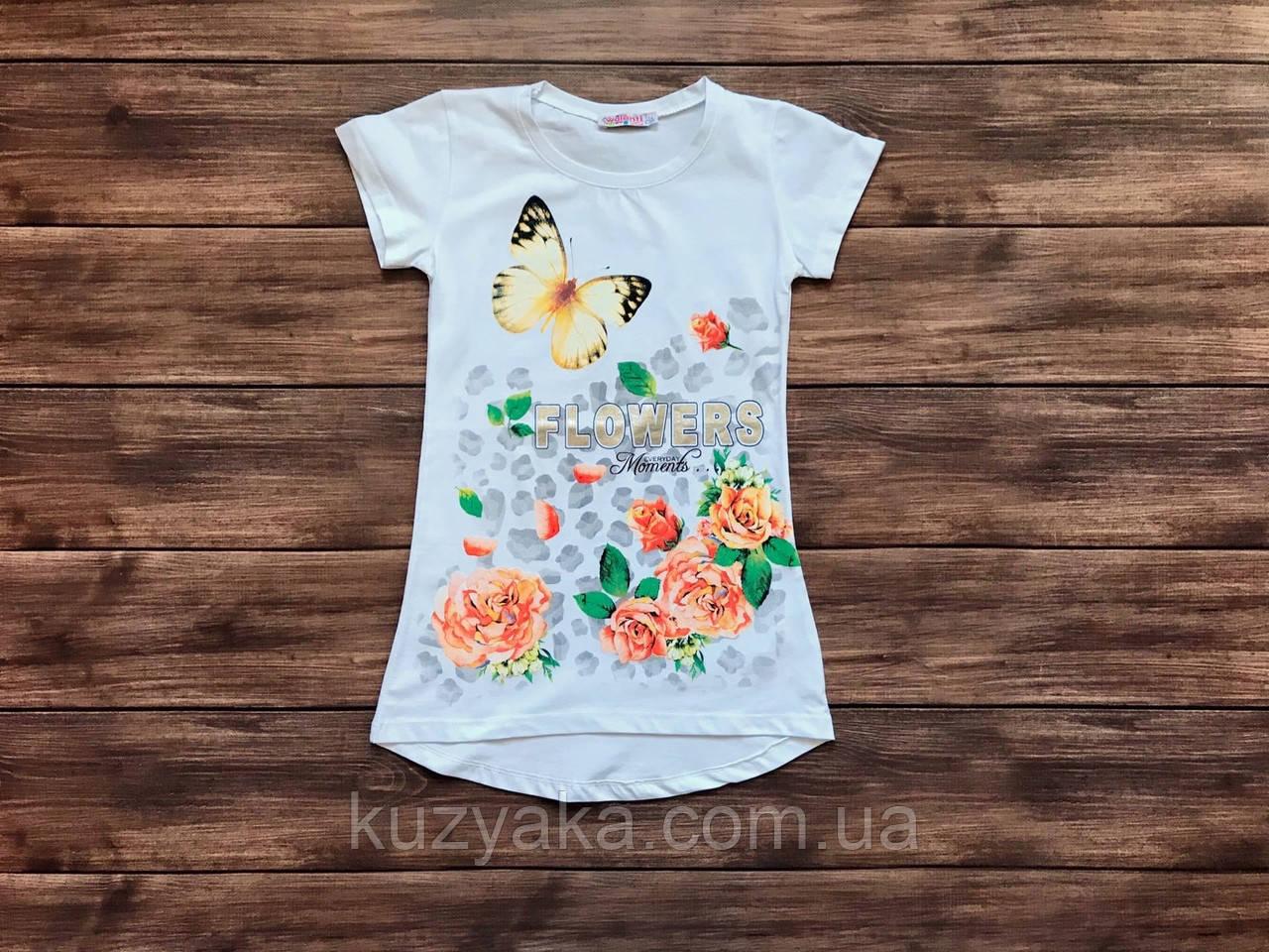 Детская футболка-туника для девочки на 9-13 лет