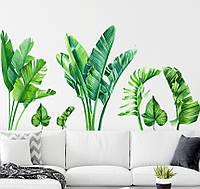 3D интерьерные виниловые наклейки на стены Тропические Ярко- зеленые листья 2 листа 90-30 см