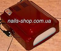 Уф лампа индукционная 828 с вентилятором для наращивания ногтей  36 Вт бордовая