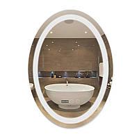 Зеркало с антизапотеванием Qtap Mideya 500х700 led подсветка QT2078F805W овальное