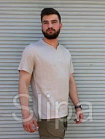 Бежевая льняная футболка мужская с коротким рукавом