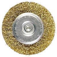 Щетка для дрели 100 мм, плоская со шпилькой, латунированная витая проволока MТХ