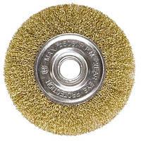 Щетка для УШМ 200 мм, посадка 22,2 мм, плоская, латунированная витая проволока MТХ