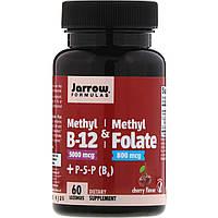 Метилфолат и метил B-12, Jarrow Formulas, Methyl B-12 & Methyl Folate, 60 леденцов, скидка