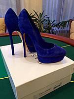 Туфли женские Casadei  синие замшевые 100% оригинал .