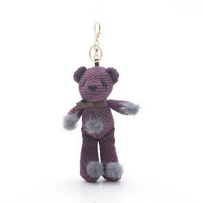 Брелок Мишка с помпонами фиолетовый