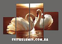 Модульная картина Лебеди 120*93 см Код: 211.4k.120