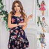 Р 42-48 Летнее льняное платье-сарафан в цветочный принт 23930